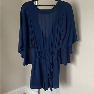 Navy Romper with Cape